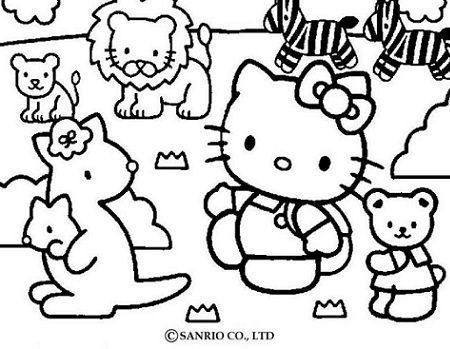 colorear hello kitty animales