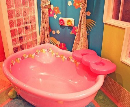 bano kitty banera  - Baño de Hello Kitty