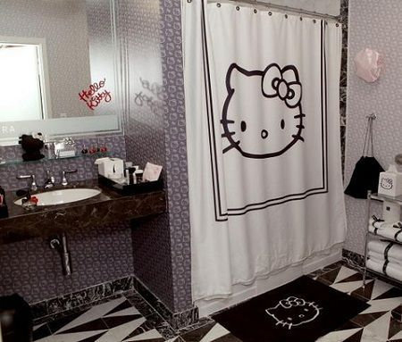 bano kitty negro blanco  - Baño de Hello Kitty