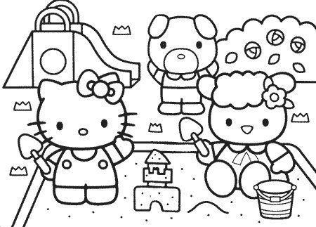colorear hello kitty amigos  - Dibujos para pintar Hello Kitty