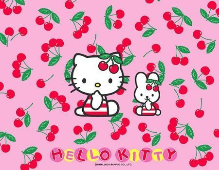 fondos escritorio hello kitty cerezas