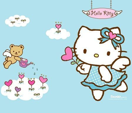 fondos escritorio hello kitty corazones