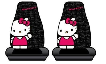 fundas coche kitty negras rojas  - Fundas Hello Kitty para el coche