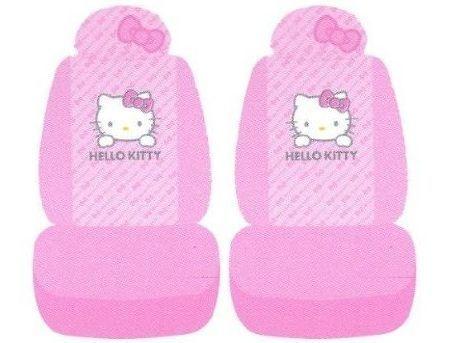 fundas coche kitty rosas lazo  - Fundas Hello Kitty para el coche