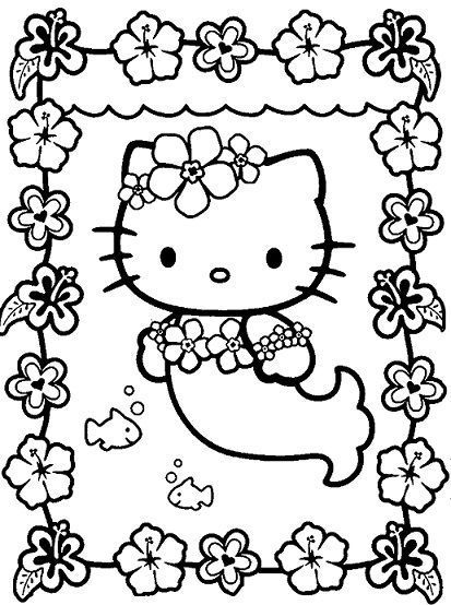 hello kitty pintar sirenita
