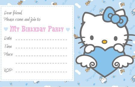 invitacion hello kitty azul
