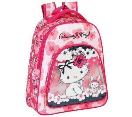 mochila escolar hello kitty flores