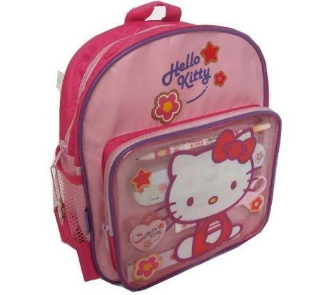 mochila escolar hello kitty lapices
