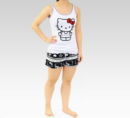pijamas hello kitty corto blanco negro