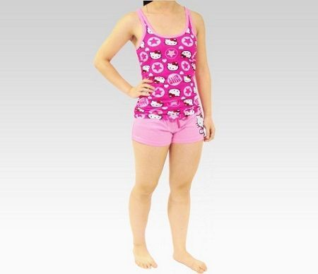 pijamas hello kitty corto rosa