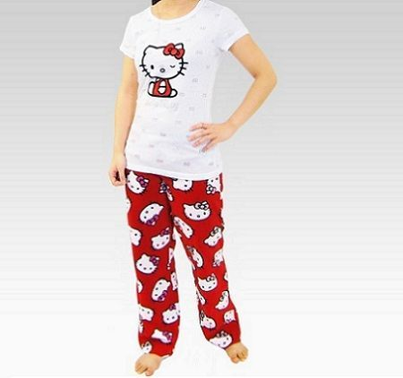 pijamas hello kitty largo rojo