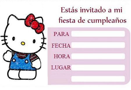 tarjetas cumpleanos hello kitty blanca  - Invitaciones de cumpleaños Hello Kitty