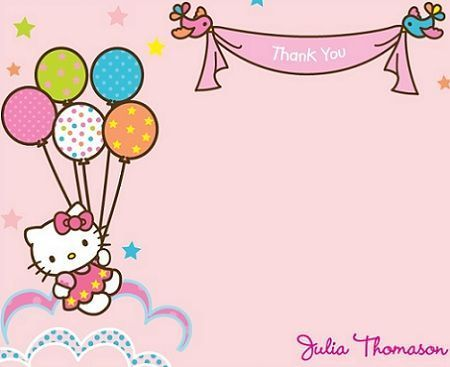 tarjetas cumpleanos hello kitty globos  - Invitaciones de cumpleaños Hello Kitty