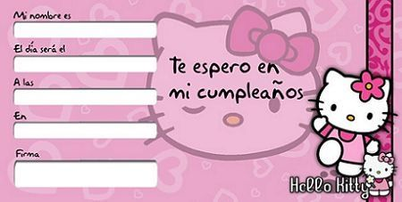 tarjetas cumpleanos hello kitty rosa  - Invitaciones de cumpleaños Hello Kitty