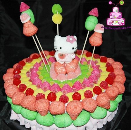 tarta hello kitty gominolas colores  - Tartas de chucherías de Hello Kitty