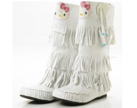 zapatos hello kitty botas flecos