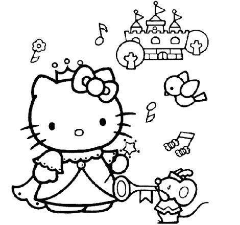 colorear hello kitty princesa
