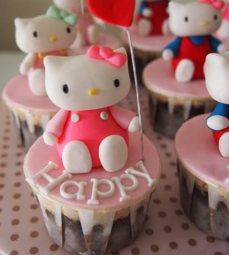 Hello Kitty postre  - Cupcakes Hello Kitty