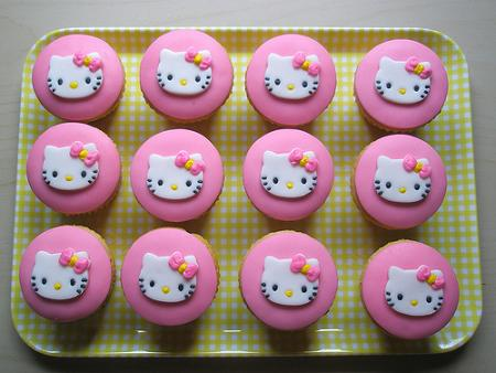 Cupcake rosa Kitty  - Cupcakes Hello Kitty