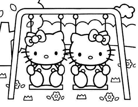 dibujos hello kitty imprimir columpios  - 7 Dibujos de Hello Kitty para colorear