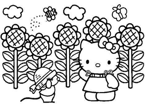 dibujos hello kitty imprimir girasoles  - 7 Dibujos de Hello Kitty para colorear
