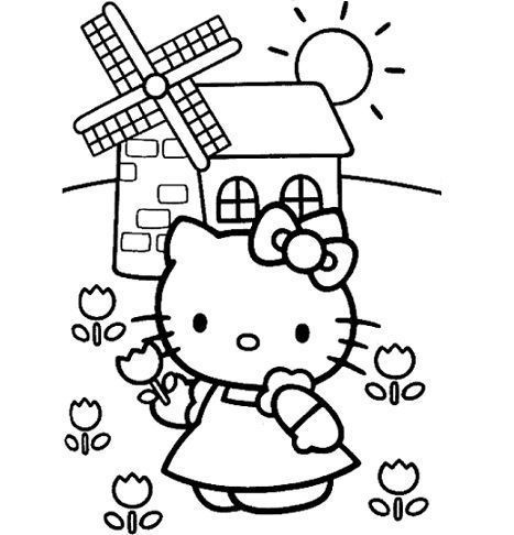 dibujos hello kitty imprimir molino  - 7 Dibujos de Hello Kitty para colorear
