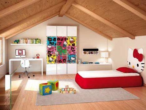 habitacion hello kitty cabecero rojo  - Habitación de Hello Kitty
