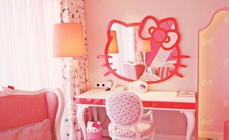 habitacion hello kitty espejo  - Habitación de Hello Kitty