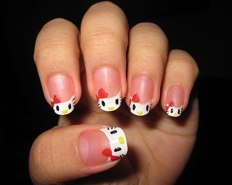 hello kitty unas francesa  - Uñas de Hello Kitty