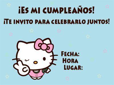 invitaciones cumpleanos hello kitty imprimir azul  - Invitaciones de cumpleaños de Hello Kitty para imprimir