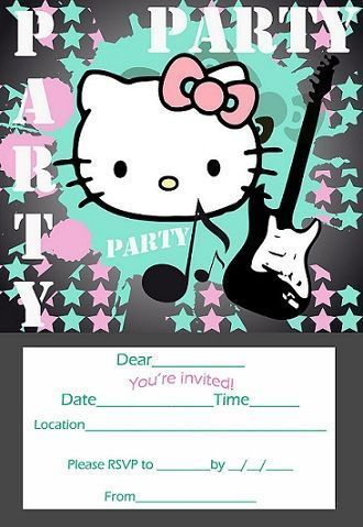invitaciones cumpleanos hello kitty imprimir rock