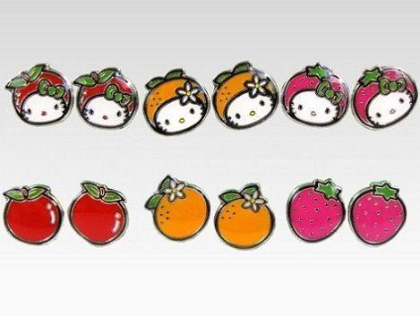 joyas hello kitty pendientes fruta