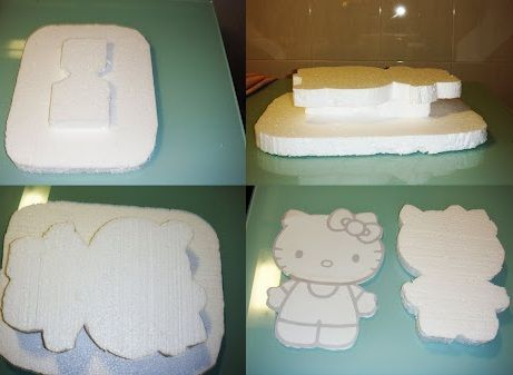 tarta hello kitty chuches base  - Tartas con chuches de Hello Kitty