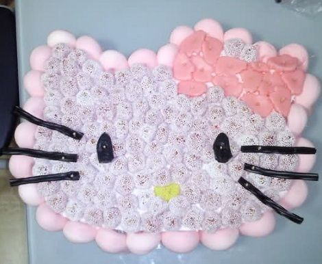 tarta hello kitty chuches cabeza  - Tartas con chuches de Hello Kitty