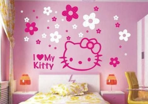 vinilos hello kitty flores
