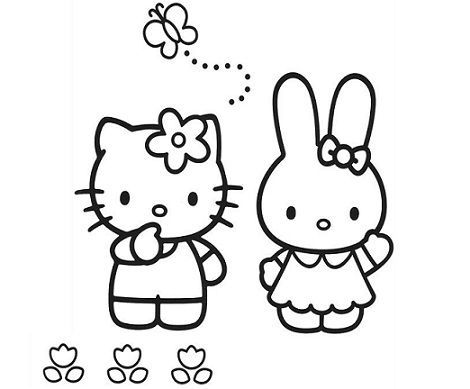 colorear hello kitty campo  - 5 Dibujos de Hello Kitty para colorear
