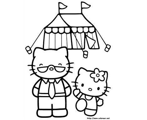 colorear hello kitty circo  - 5 Dibujos de Hello Kitty para colorear