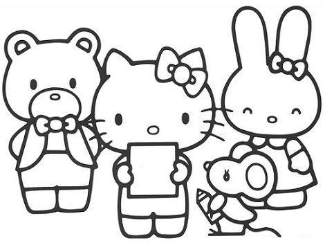 colorear hello kitty leyendo  - 5 Dibujos de Hello Kitty para colorear