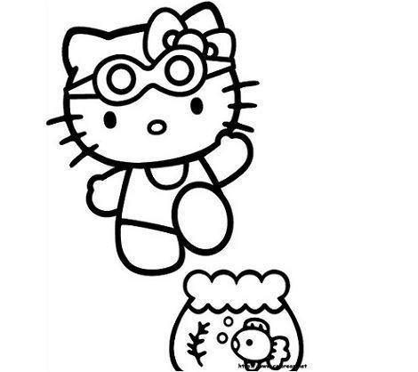 colorear hello kitty natacion  - 5 Dibujos de Hello Kitty para colorear