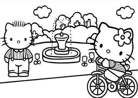 colorear hello kitty parque  - 5 Dibujos de Hello Kitty para colorear