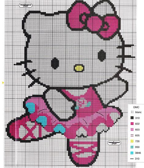 Hello Kitty bailarina a punto de cruz  - 6 patrones Hello Kitty a punto de cruz