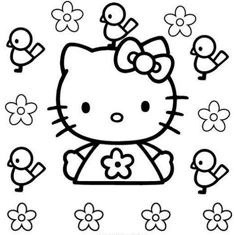 hello kitty para colorear pollitos