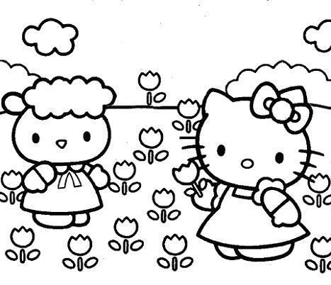 hello kitty para colorear tulipanes
