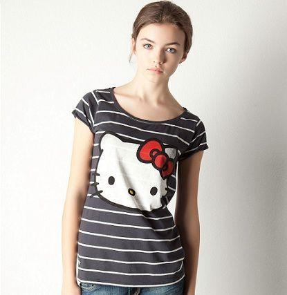 ropa hello kitty pull and bear camiseta rayas azul