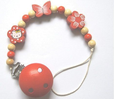 sujeta chupetes hello kitty rojo