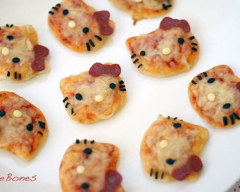 comida hello kitty pizzas  - Comida de Hello Kitty