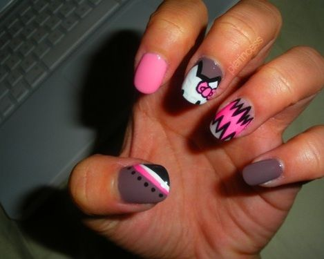hello kitty unas lunares fluor