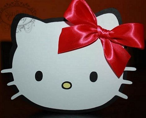 invitaciones caseras hello kitty lacito  - Invitaciones de Hello Kitty caseras