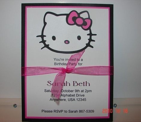 invitaciones caseras hello kitty tarjeta  - Invitaciones de Hello Kitty caseras