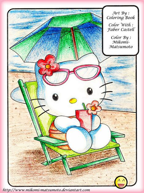 Kitty en la playa